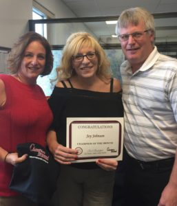 September Champion of the Month, Joy Johnson, pictured with Brian Ohlinger of Clover Farms Dairy, and Heather McFadden, Business Development Manager at Champion Personnel.