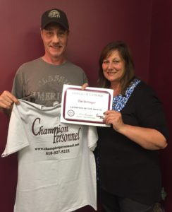 August Champion of the Month, Timothy Berringer, pictured with Champion Personnel recruiter, Susan Etchberger