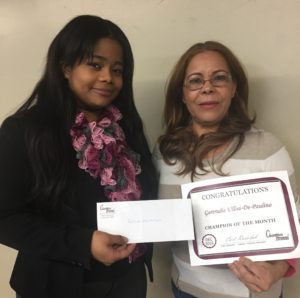 December Champion of the Month, Gertrudis Ulloa-De-Paulino, pictured with Merelyn Janse, Champion Recruiter.