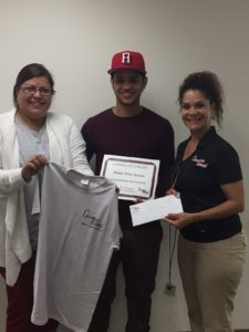 July Champion of the Month, Moises Arias-Batista pictured with Champion Recruiter, Lucy Santiago and Ginny Matias of John F. Martin Meats.