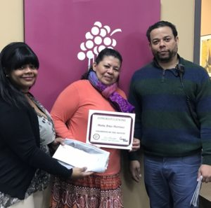 Champion of the Month, Maria Arias-Martinez pictured with Champion Recruiter Merelyn Janse, and Sun Rich Supervisor, Elido Martinez.