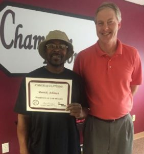 Pictured with Carl Rudolph, Owner/General Manager is our October Champion of the Month, Derrick Johnson. Derrick works for us at Dieffenbach Potato Chips.