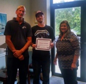 September 2016 Champion of the Month, Chris Golembiski, pictured with Recruiter, Susan Etchberger. Standing with them is Beacon Container Supervisor, Rich Kelemen.